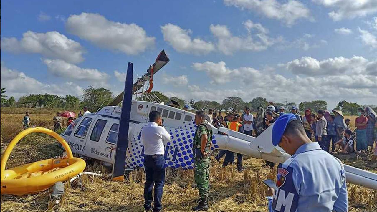 peristiwa helikopter jatuh di lombok tengah