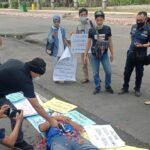 Aksi Solidaritas Desak Polri Tangkap Pelaku Penembakan Wartawan di Sumut